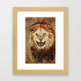 Angry Lion Mosaic Framed Art Print