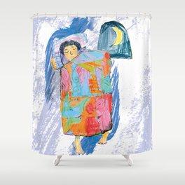 Sleeping and dreaming illustration, design for children Shower Curtain
