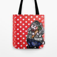 rabbit Tote Bags featuring Rabbit by AKIKO