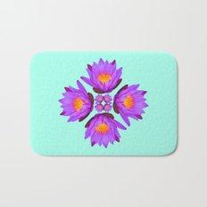 Purple Lily Flower - On Aqua Blue Bath Mat