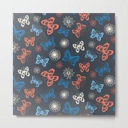 Seamless pattern with butterflies Metal Print