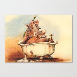 warthog's bath Canvas Print