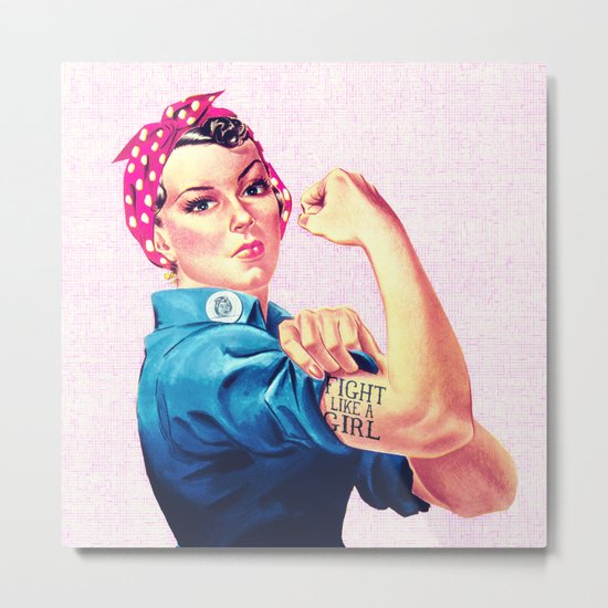 Fight Like A Girl Rosie The Riveter Girly Mod Pink Metal Print