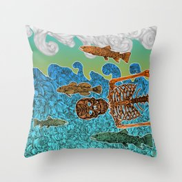 Vacations of a Skeleton whit his friends...the fish Throw Pillow
