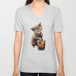 CAT LOVES SODA Unisex V-Neck