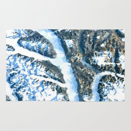 Arctic Landscape From Above Low Poly Geometric Triangles Rug