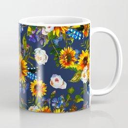 Modern yellow orange blue watercolor sunflower floral pattern Coffee Mug