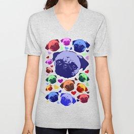 Pug Puppy Dog Love Hearts Pattern Unisex V-Neck