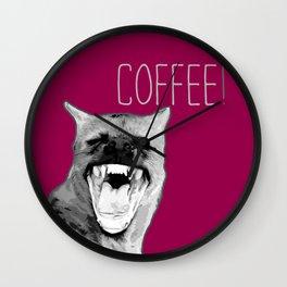 Pop art Hyena! Animal funny quote. Coffee! Wall Clock