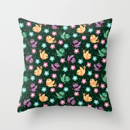 Freely Birds Flying - Fly Away Version 3 - Basil Green Color Throw Pillow