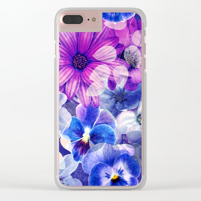 Dark pink and blue floral pattern Clear iPhone Case