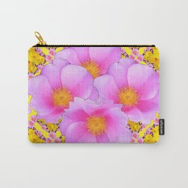 Pink Roses Yellow Floral Pattern Carry-All Pouch