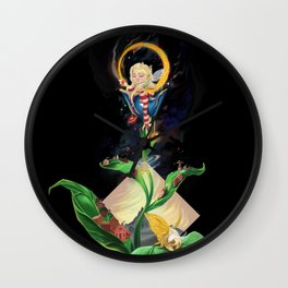 Moon fairy and the space scientists Wall Clock