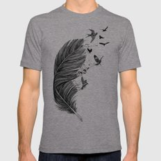 Feather Birds BW X-LARGE Mens Fitted Tee Tri-Grey