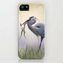 Great Blue Heron with a Bull Frog in its Beak iPhone Case