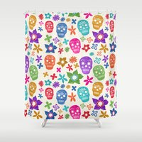 sugar skulls Shower Curtains featuring Sugar Skulls by Emmyrolland