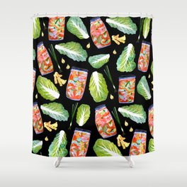 Kimchi Ingredients Fun Spicy Watercolor Black Shower Curtain