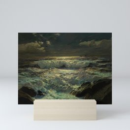 The Longships Light nautical landscape painting by Julius Olsson Mini Art Print