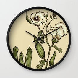 Okra Botanical Wall Clock