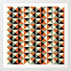 Mid-century pattern (orange triangles) Art Print