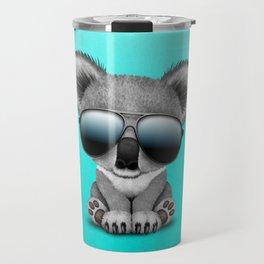 Cute Baby Koala Bear Wearing Sunglasses Travel Mug
