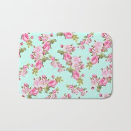 Pink & Mint Green Floral Bath Mat