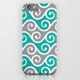Aqua and Grey Wavy Ripple Pattern Pantone 2021 Color Of The Year Ultimate Gray  iPhone Case