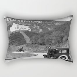 Old Hollywood sign Hollywoodland black and white photograph Rectangular Pillow