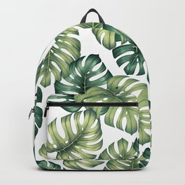 Monstera botanical leaves illustration pattern on white Backpack