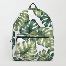 Monstera botanical leaves illustration pattern on white Backpack