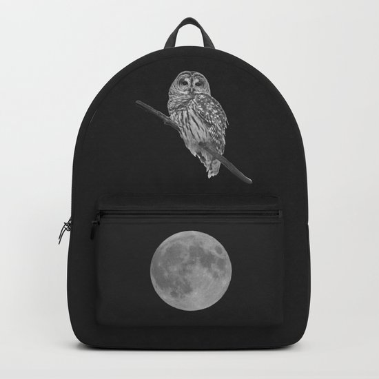 Owl, See the Moon (bw) Backpack