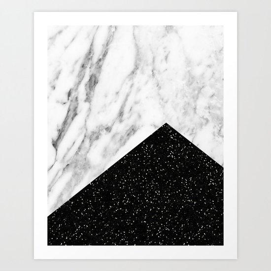 Ebony marble geo Art Print