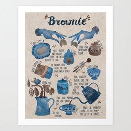 Illustrated recipe of brownie Art Print