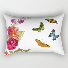 Butterflies and flowers arrangement isolated on white Rectangular Pillow