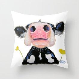 Nosey Friesian Cow ' DAFFODIL by Shirley MacArthur Throw Pillow