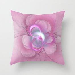 Pink Abstract Fractal on Pink Throw Pillow