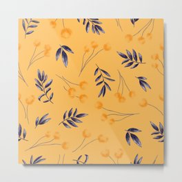 Meyer Lemon-Tangerine Sophisticated Leaves and Flowers Pattern Metal Print
