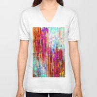 valentines V-neck T-shirts featuring Valentines Brunch by Glint & Lime Art