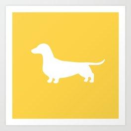 Dachshund (on Yellow) Art Print