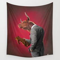 bull Wall Tapestries featuring Bull by rob art | illustration