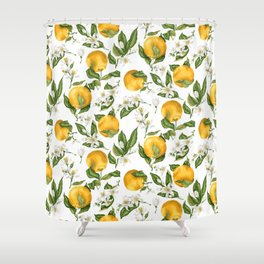 Citrus OrangeTree Branches with Flowers and Fruits Shower Curtain