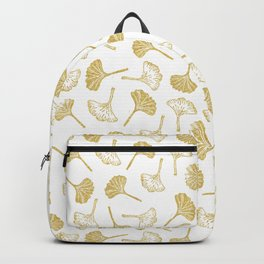 Ginkgo Biloba linocut pattern GLITTER GOLD Backpack