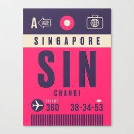Retro Airline Luggage Tag - SIN Singapore Changi Canvas Print