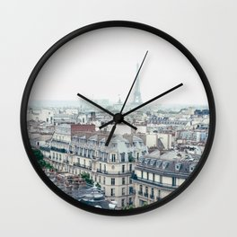 Eiffel Tower and Parisian roofs Wall Clock