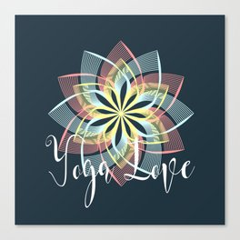 Pink Yellow Blue Yoga Love Mandala, Boho Style Canvas Print