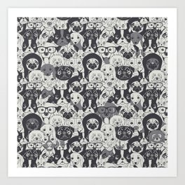 Pattern With Cute Dogs Art Print