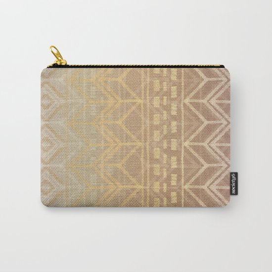 Neutral Tan & Gold Tribal Ikat Pattern Carry-All Pouch