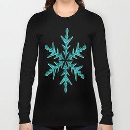 Minimalistic Aquamarine Snowflake Long Sleeve T-shirt