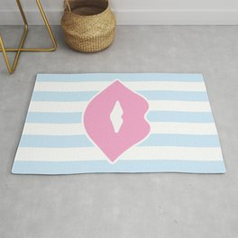 Pastel Lips with Stripes Rug