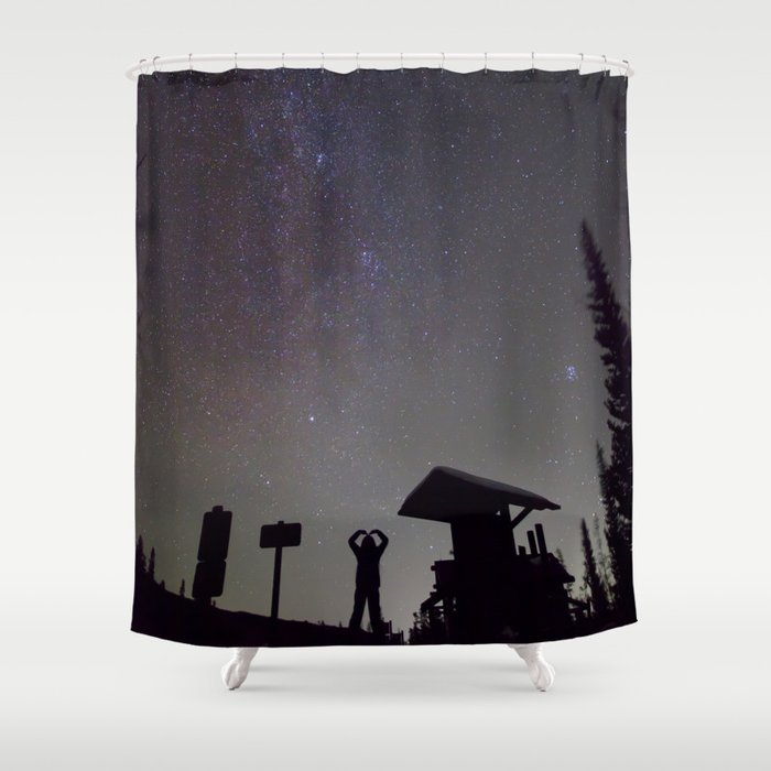 Watercolor People in Nature Hiker Milky Way Glacier Gorge Trailhead, Rocky Mountain National Park Shower Curtain